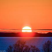 Late Summer Orange Sunset Over Leelanau Peninsula