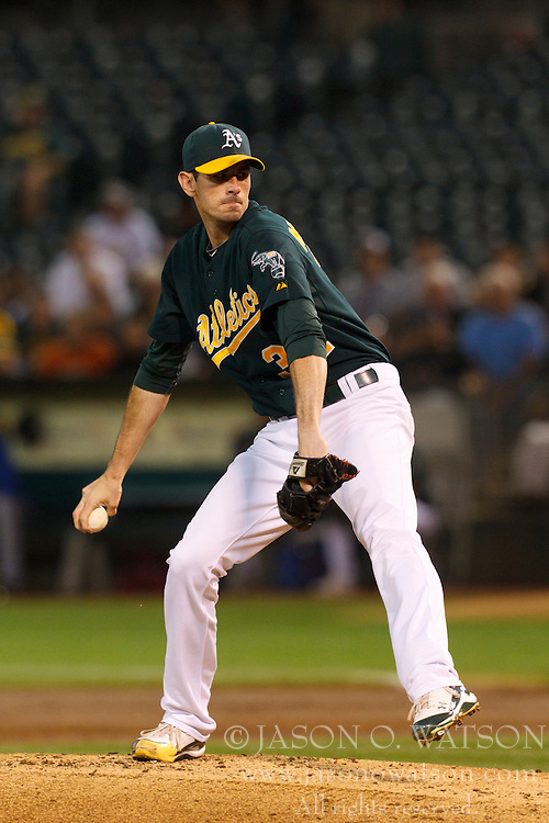 September 21, 2011; Oakland, CA, USA;  Oakland Athletics starting pitcher Brandon McCarthy (32) pitches against the Texas Rangers during the second inning at O.co Coliseum. Texas defeated Oakland 3-2.