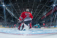 KELOWNA, CANADA - APRIL 14: Cole Kehler #31 of the Portland Winterhawks stretches on the ice in the crease against the Kelowna Rockets on April 14, 2017 at Prospera Place in Kelowna, British Columbia, Canada.  (Photo by Marissa Baecker/Shoot the Breeze)  *** Local Caption ***