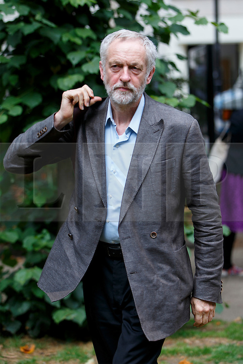 © London News Pictures. 06/08/2015. London, UK. Labour Party leader candidate Jeremy Corbyn attends a Campaign for Nuclear Disarmament rally to mark the 70th Anniversary of the atomic bombings of Hiroshima and Nagasaki in Tavistock Square, London on Thursday, August 6, 2015. Photo credit: Tolga Akmen /LNP