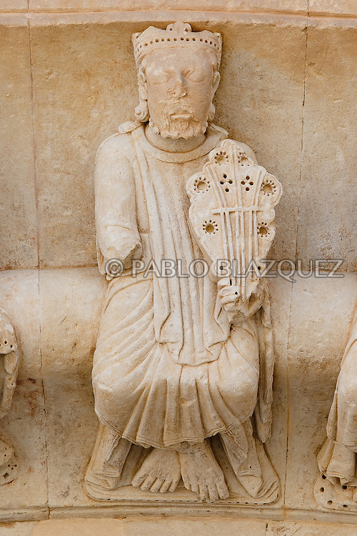 09/08/2016. Details of sculptures with instruments of the North portico of the Collegiate of Santa Maria la Mayor stands on August 9, 2016 in Toro, Zamora province, Spain. The Collegiate of Santa María la Mayor is a Romanesque architecture church built during the 12th and 13th centuries. Recents restorations of the Church discovered many details on its sculptures, and luthiers found the opportunity of recovering and to reproduce instruments showing on its North gate. (© Pablo Blazquez)
