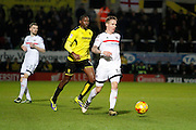 Burton Albion striker Lucas Akins (10) and Fulham midfielder Stefan Johansen (14) during the EFL Sky Bet Championship match between Burton Albion and Fulham at the Pirelli Stadium, Burton upon Trent, England on 1st February 2017. Photo by Richard Holmes.