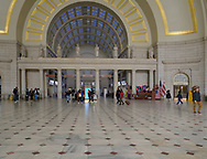 Washington, DC, USA --  March 16, 2019. Commuters and tourists are in the main lobby of Union Station in Washington, DC.