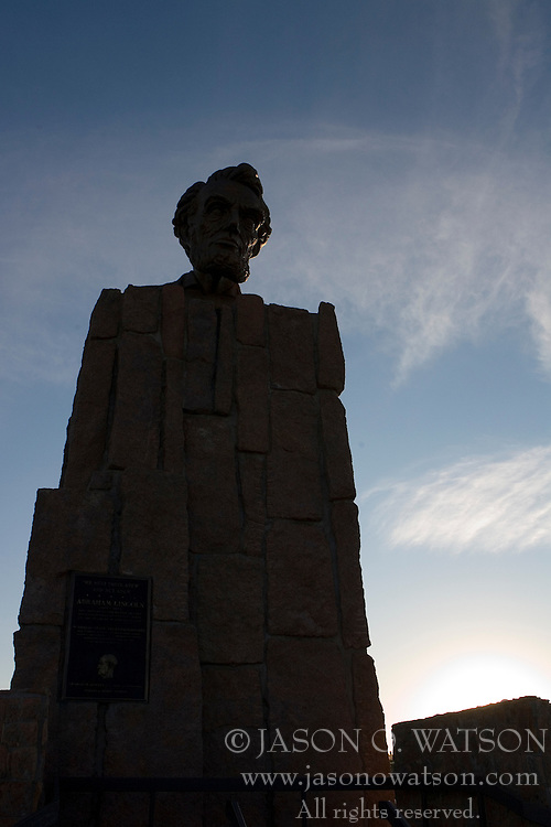 Lincoln memorial on I-80 at the Summit Rest Area between Cheyenne and Laramie, Wyoming.