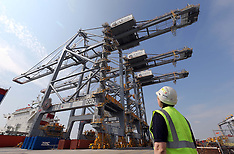 MAY 01 2013 The world's largest quay cranes at the London Gateway port