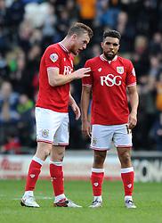 Alex Pearce of Bristol City speaks with Scott Golbourne - Mandatory by-line: Dougie Allward/JMP - 02/04/2016 - FOOTBALL - KC Stadium - Hull, England - Hull City v Bristol City - Sky Bet Championship