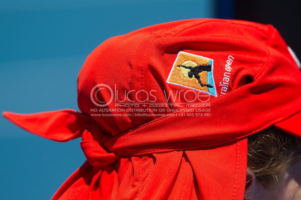 Red Lacoste Hat Of The Official Ball Kids. Australian Open Grand Slam Tennis Championship 2014. Melbourne Park, Melbourne, Victoria, Australia. 13/01/2014. Photo By Lucas Wroe