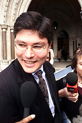High Court, Spice Girls Case ...Gregor Kleinkneccht, Solicitor from Cameron Mckenna representing Aprilia talking to the press outside the high court after winning their case against the spice girls   February 24, 2000. Photo by Andrew Parsons / i-images..
