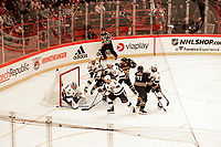 2019-11-08 | Stockholm, Sweden : Traffic around Tampas goaly Andrei Vasilevskiy during NHL Global series at Globe Arena (Photo by : Daniel Carlstedt | Swe Press Photo