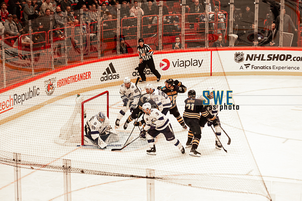 2019-11-08 | Stockholm, Sweden : Traffic around Tampas goaly Andrei Vasilevskiy during NHL Global series at Globe Arena (Photo by : Daniel Carlstedt | Swe Press Photo