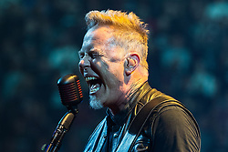 © Licensed to London News Pictures . 28/10/2017 . Manchester , UK . James Hetfield . Metallica perform at the Manchester Arena . Photo credit : Joel Goodman/LNP