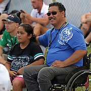 Tautai Toko Tofaeono, a Toa Samoa legendary star was honored and  inspired those in attendance with his testimony of faith, after his long recovery from a air crash while a pilot at Polynesian Airlines.  Fiji Bati defeated Toa Samoa 20-18 in an international rugby league test at Apia Park, Apia, Samoa.  Photo by Barry Markowitz, 10/8/16
