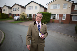 © Licensed to London News Pictures . 03/11/2015 . Oldham , UK . UKIP leader NIGEL FARAGE out canvassing for the seat of Oldham West and Royton , on Epping Close , Chadderton . The by-election has been triggered by the death of MP Michael Meacher . Photo credit : Joel Goodman/LNP