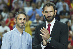 September 17, 2018 - Madrid, Spain - Juan Carlos Navarro and Jorge Garbajosa  attend the 2019 FIBA Basketball World Cup qualification match between Spain and Latvia at WiZink Center in Madrid, Spain, 17 September 2018  (Credit Image: © Oscar Gonzalez/NurPhoto/ZUMA Press)