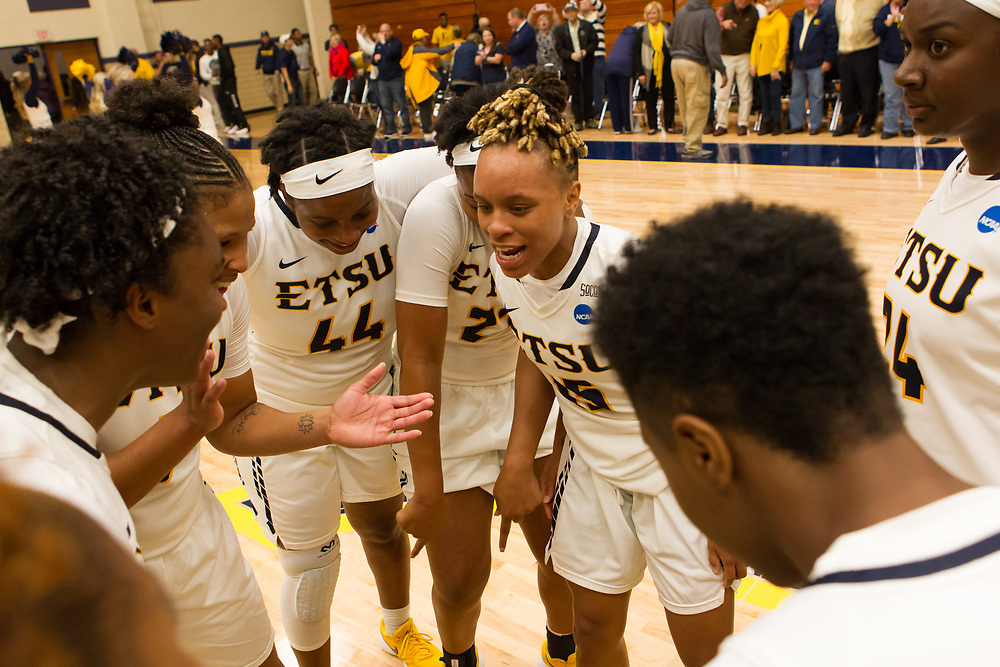 November 10, 2017 - Johnson City, Tennessee - Brooks Gym: ETSU forward Shy Copney (44), ETSU guard Tianna Tarter (15)<br /> <br /> Image Credit: Dakota Hamilton/ETSU