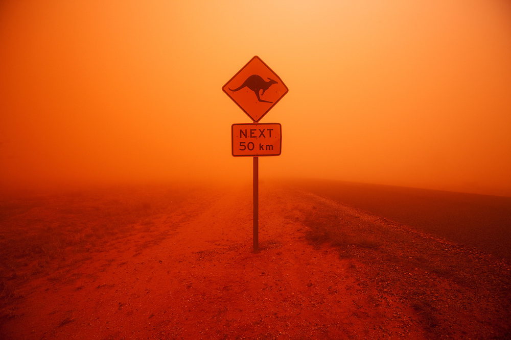 Australia, New South Wales, Ivanhoe, Kangaroo Crossing highway warning sign during Outback dust storm
