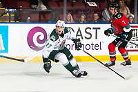 KELOWNA, BC - SEPTEMBER 28:  Jalen Price #27 of the Everett Silvertips skates against the Kelowna Rockets  at Prospera Place on September 28, 2019 in Kelowna, Canada. (Photo by Marissa Baecker/Shoot the Breeze)