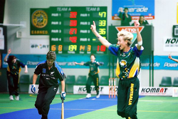 Australia Women celebrate a wicket against New Zealand. The Australia Women were undefeated throughout the tournament.<br /> 2003 World Masters Indoor Cricket championship, Christchurch, New Zealand