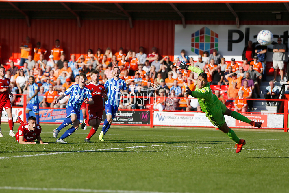 Goal scored by Matty Virtue of Blackpool  during the EFL Sky Bet League 1 match between Accrington Stanley and Blackpool at the Fraser Eagle Stadium, Accrington, England on 21 September 2019.