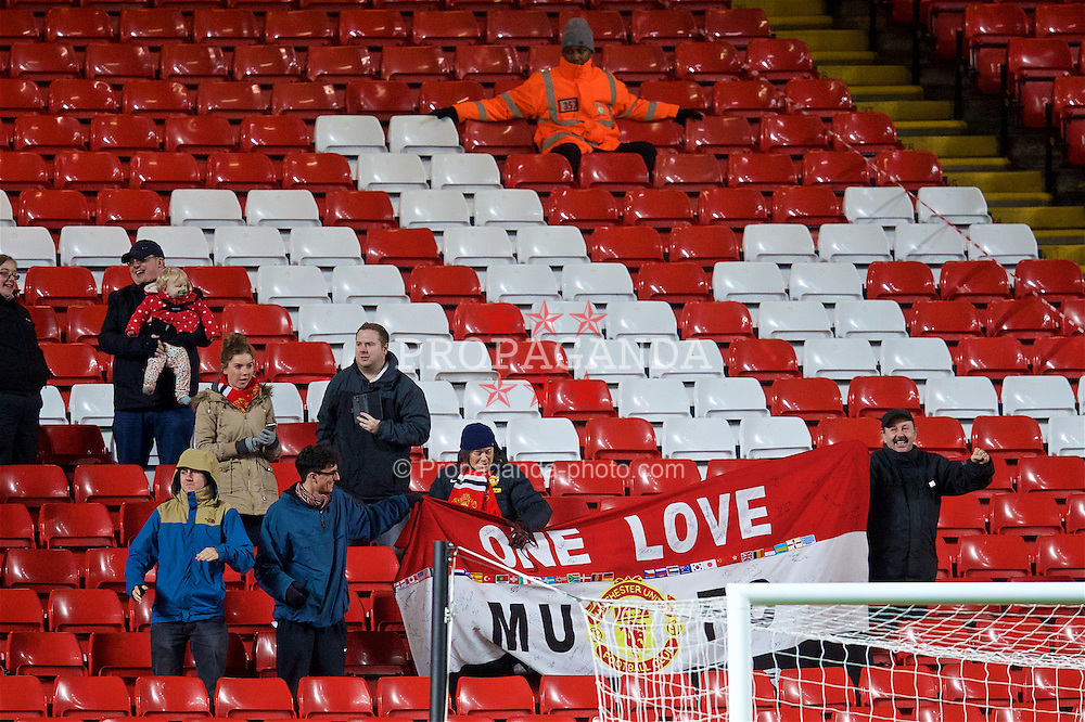 LIVERPOOL, ENGLAND - Monday, January 16, 2017: The Manchester United away supporters celebrator the late winning goal against Liverpool during FA Premier League 2 Division 1 Under-23 match at Anfield. (Pic by David Rawcliffe/Propaganda)
