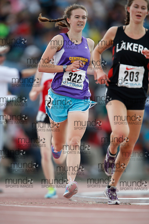 Sarah Wismer of Centennial CVI - Guelph competes in the senior girls 3000m at the 2013 OFSAA Track and Field Championship in Oshawa Ontario, Saturday,  June 8, 2013.<br /> Mundo Sport Images/ Geoff Robins
