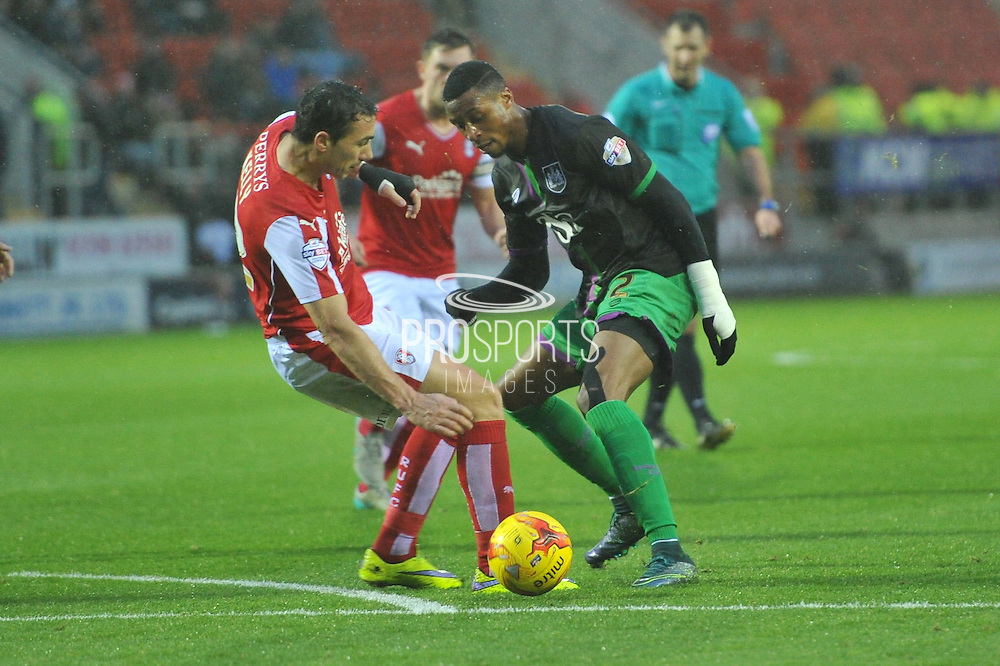 Stephen Kelly of Rotherham United and Korey Smith of Bristol City fight for ball during the Sky Bet Championship match between Rotherham United and Bristol City at the New York Stadium, Rotherham, England on 28 November 2015. Photo by Ian Lyall.
