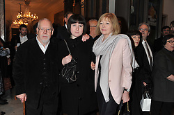 Left to right, SIR PETER BLAKE, ROSE BLAKE and LADY BLAKE at a private view to celebrate the opening of the Royal Academy's exhibition of work by David Hockney held at The Royal Academy, Burlington House, Piccadilly, London on 17th January 2012.