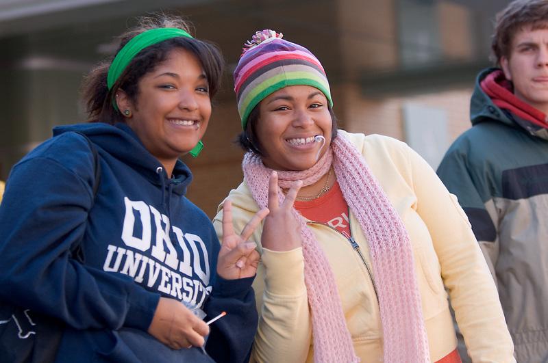 17904Homecoming 2006 10/20/06: Parade...Brittany Halmet, Lauren Richie(left)