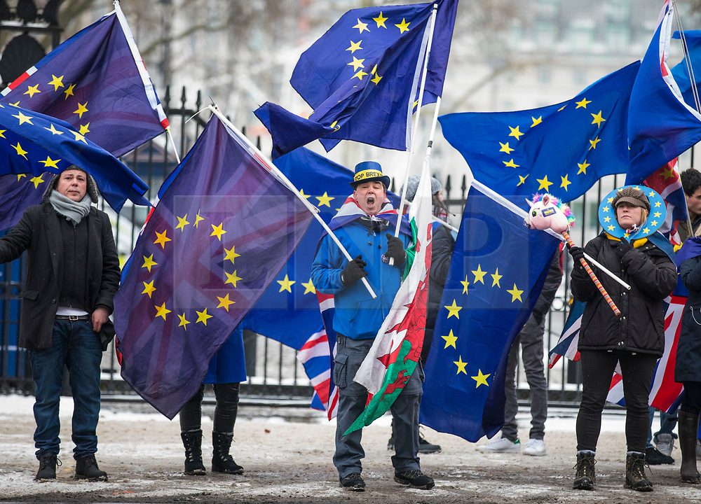 © Licensed to London News Pictures. 01/03/2018. London, UK. Anti-Brexit protesters opposite Downing Street as Prime Minister Theresa May meets European Council President Donald Tusk. Photo credit: Rob Pinney/LNP