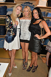 Left to right, ZOE AL HUSSEINI, STEPHANIE PRATT and ANDREA SMITH at a party to celebrate the paperback lauch of The Stylist by Rosie Nixon hosted by Donna Ida at her store at 106 Draycott Avenue, London on 17th August 2016.