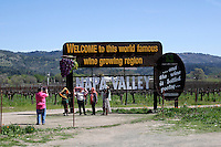 2014 March 20:  Tourists take photos off highway 29. Spring in the Napa Valley wine region.  Stock Photos