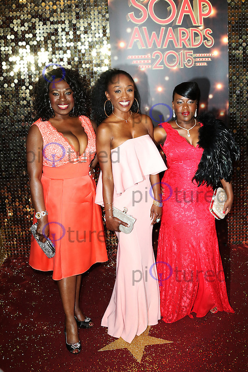 Ellen Thomas, Diane Parish, Tameka Empson, The British Soap Awards 2015, The Palace Hotel, Manchester UK, 16 May 2015, Photo by Richard Goldschmidt