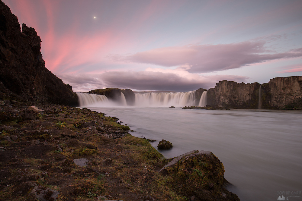 Sunrise at Goðafoss waterfall in northern Iceland