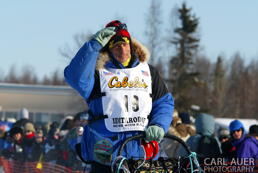 3/4/2007:  Willow, Alaska -  Veteran Martin Buser of Big Lake, AK at the 35th Iditarod Sled Dog Race