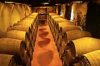 ca. 2003, Jerez de la Frontera, Spain --- Wine casks in the cellar of the Gonzalez Byass winery in Jerez de la Frontera. --- Image by © Owen Franken/CORBIS