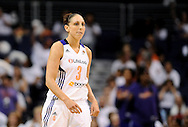 Sep 29, 2013; Phoenix, AZ, USA; Phoenix Mercury guard Diana Taurasi (3) reacts on the court during the game against the Minnesota Lynx at US Airways Center. The Lynx defeated the Mercury 72-65. Mandatory Credit: Jennifer Stewart-USA TODAY Sports