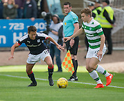 Celtic&rsquo;s James Forrest and Dundee&rsquo;s Danny Williams - Dundee v Celtic in the Ladbrokes Scottish Premiership at Dens Park, Dundee. Photo: David Young<br /> <br />  - &copy; David Young - www.davidyoungphoto.co.uk - email: davidyoungphoto@gmail.com