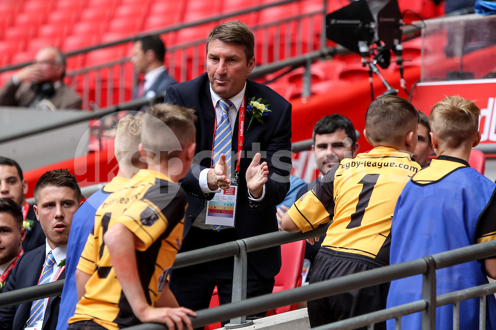 Warrington Wolves Head of Coaching and Rugby TONY SMITH sees Castleford Academy win the Year 7 Boys Champion Schools Final before the Ladbrokes Challenge Cup Final match between Hull FC and Warrington Wolves at Wembley Stadium, London, England on 27 August 2016. Photo by Ken Sparks.