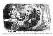"""Eh, but I had a rare time last year-r. A was at ma cousin MacWhuskie's a whole forrtnight, an' a didna once ken a was theer!"" (two old Scottish men with similar beards, pipes and clothing share a drink)"