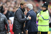 Southampton Manager Mark Hughes and Liverpool Manager Jurgen Klopp  during the Premier League match between Liverpool and Southampton at Anfield, Liverpool, England on 22 September 2018.