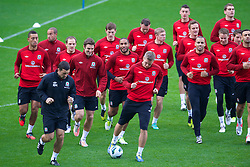 CARDIFF, WALES - Monday, October 15, 2012: Wales captain Ashley Williams (centre) with his squad during a training session at the Cardiff City Stadium ahead of the Brazil 2014 FIFA World Cup Qualifying Group A match against Croatia. xxxx. (Pic by David Rawcliffe/Propaganda)