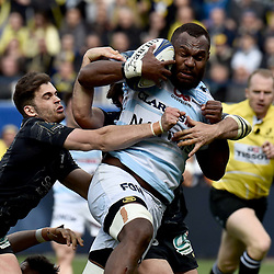 Leone Nakarawa of Racing scores one Try and Damian Penaud of Clermont during the Champions Cup match between ASM Clermont and Racing 92 on April 1, 2018 in Clermont, France. (Photo by Alexandre Dimou/Icon Sport) - Damian PENAUD - Leone NAKARAWA - Paris (France)