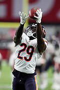 Chicago Bears rookie running back Tarik Cohen (29) catches a pass during pregame warmups before the 2017 NFL week 2 preseason football game against the Arizona Cardinals, Saturday, Aug. 19, 2017 in Glendale, Ariz. The Bears won the game 24-23. (©Paul Anthony Spinelli)