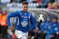 1. divisjon fotball 2014: Hødd - Tromsdalen.  Hødds Espen Standal i 1. divisjonskampen mellom Hødd og Tromsdalen på Høddvoll.