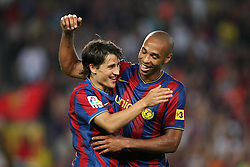 FC Barcelona's Bojan Krkic and Thierry Henry  celebarte goal during the Supercup of Spain.August 23 2009.