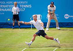 LIVERPOOL, ENGLAND - Friday, June 16, 2017: Steve Darcis (BEL) during Day Two of the Liverpool Hope University International Tennis Tournament 2017 at the Liverpool Cricket Club. (Pic by David Rawcliffe/Propaganda)