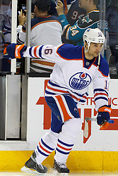 Dec 17, 2011; San Jose, CA, USA; Edmonton Oilers left wing Darcy Hordichuk (16) enters the ice before the game against the San Jose Sharks at HP Pavilion.  San Jose defeated Edmonton 3-2. Mandatory Credit: Jason O. Watson-US PRESSWIRE