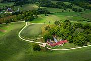 "Aerial view of Frank Lloyd Wright's farm near ""Taliesin"" near Spring Green, Wisconsin, USA."