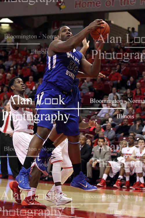 31 December 2014:  Brandon Murphy looks for the hoop during an NCAA Division 1 Missouri Valley Conference (MVC) men's basketball game between the Indiana State Sycamores beat the Illinois State Redbirds 63-61 at Redbird Arena in Normal Illinois
