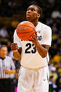 November 16th, 2013:  Colorado Buffaloes freshman guard Jaron Hopkins (23) sets up for a free throw attempt in the second half of the NCAA Basketball game between the Jackson State Tigers and the University of Colorado Buffaloes at the Coors Events Center in Boulder, Colorado